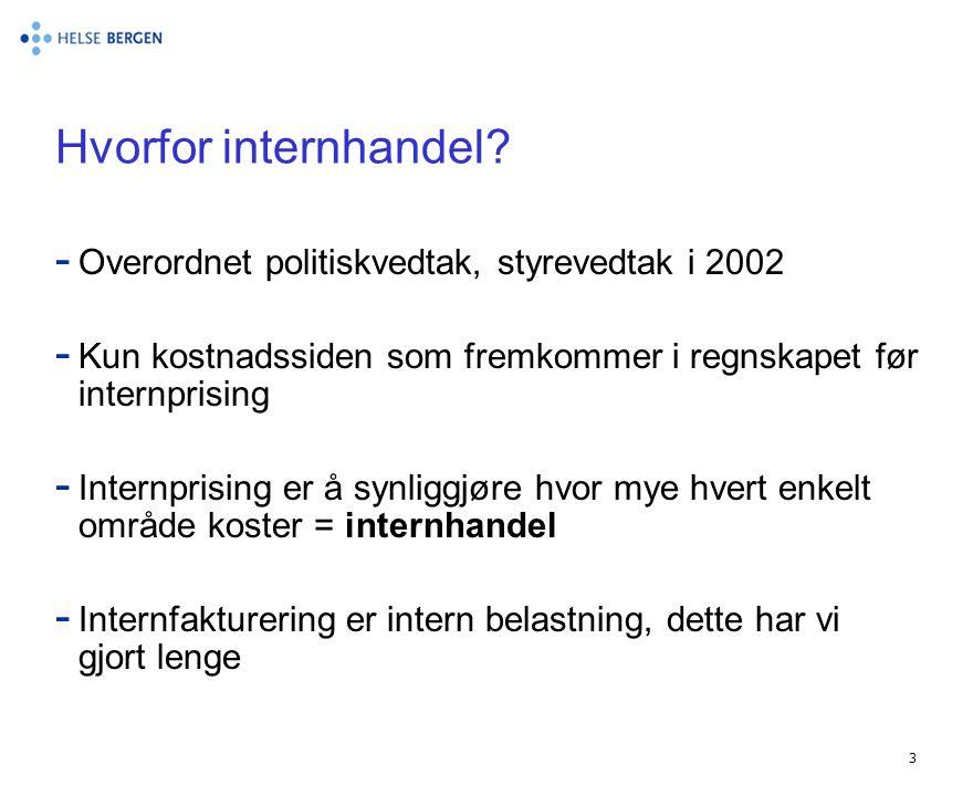 Hvorfor internhandel Overordnet politiskvedtak, styrevedtak i 2002