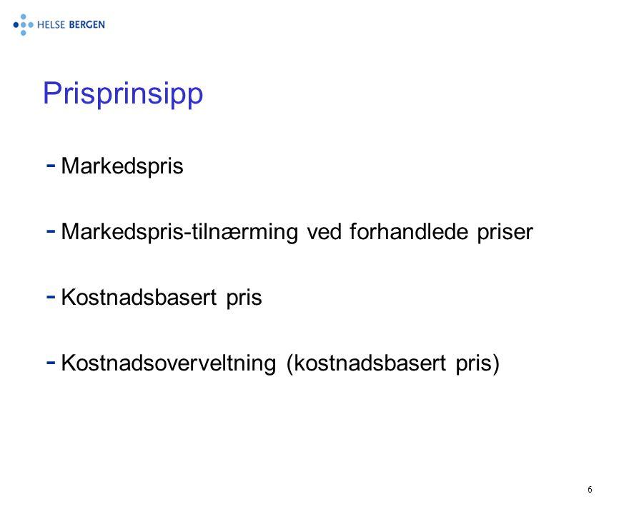 Prisprinsipp Markedspris Markedspris-tilnærming ved forhandlede priser