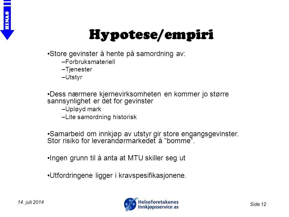 Hypotese/empiri Store gevinster å hente på samordning av: