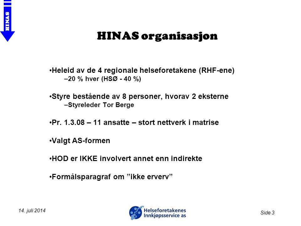 HINAS organisasjon Heleid av de 4 regionale helseforetakene (RHF-ene)