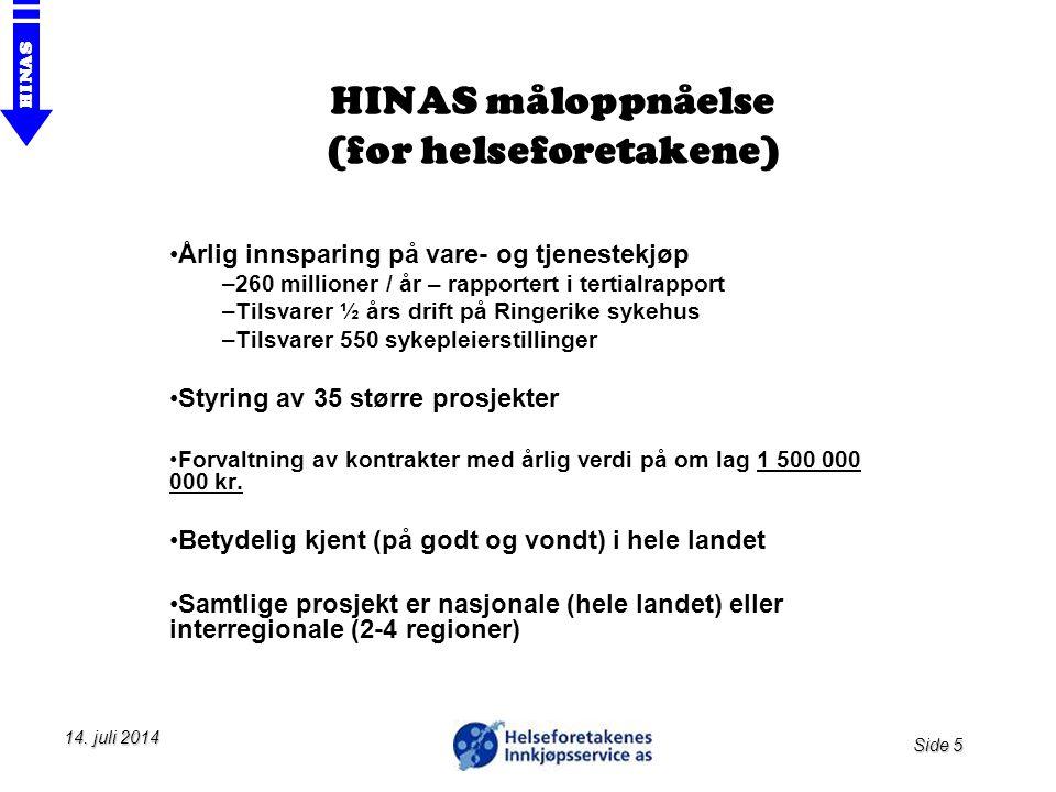 HINAS måloppnåelse (for helseforetakene)
