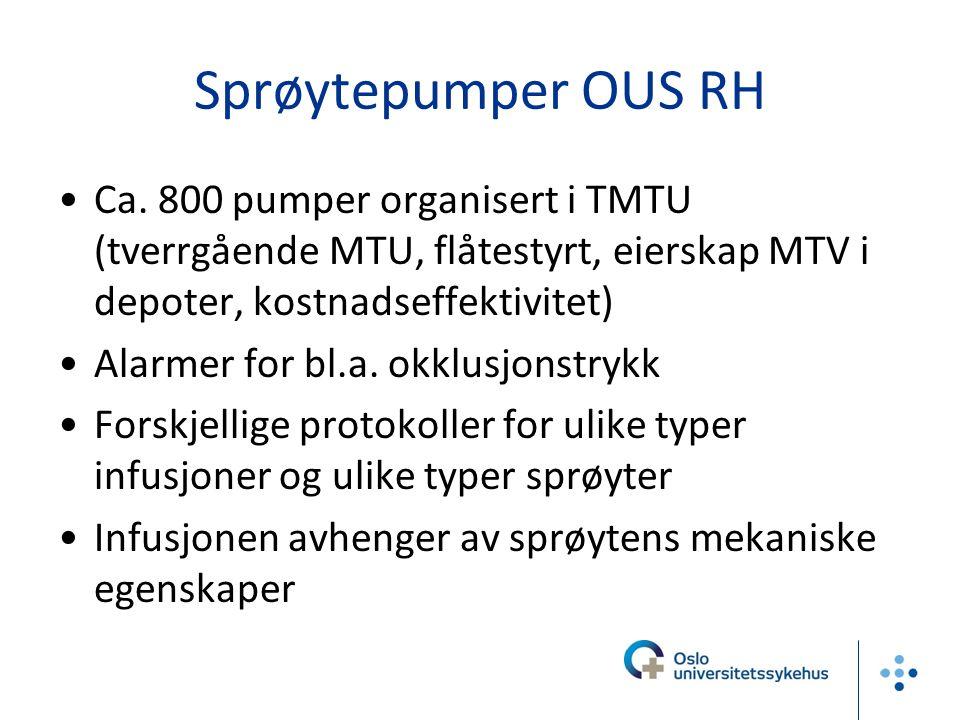 Sprøytepumper OUS RH Ca. 800 pumper organisert i TMTU (tverrgående MTU, flåtestyrt, eierskap MTV i depoter, kostnadseffektivitet)