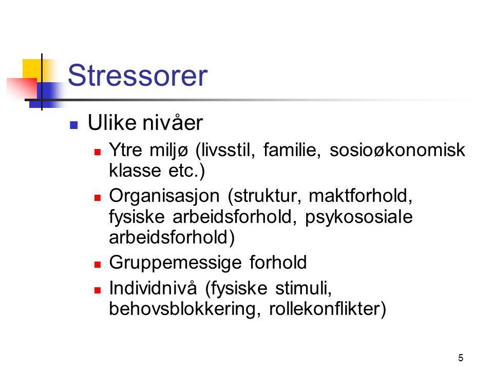 Stressorer Ulike nivåer