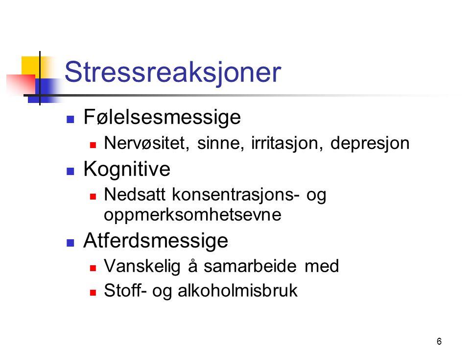 Stressreaksjoner Følelsesmessige Kognitive Atferdsmessige