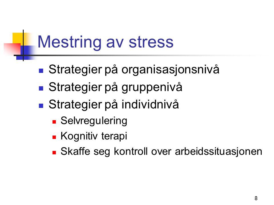 Mestring av stress Strategier på organisasjonsnivå