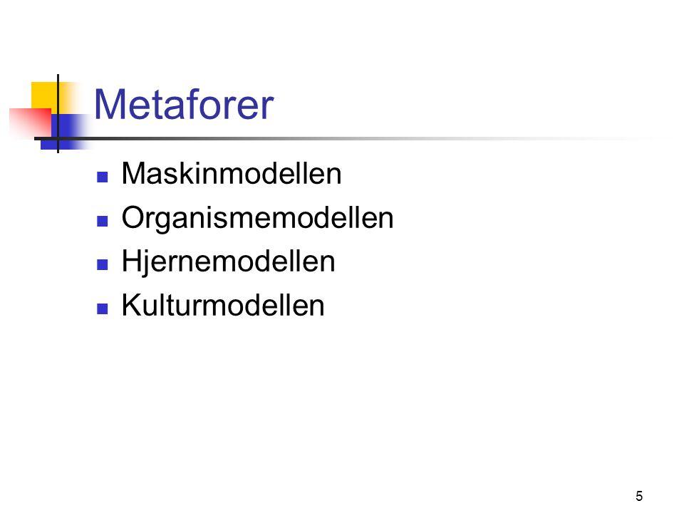 Metaforer Maskinmodellen Organismemodellen Hjernemodellen