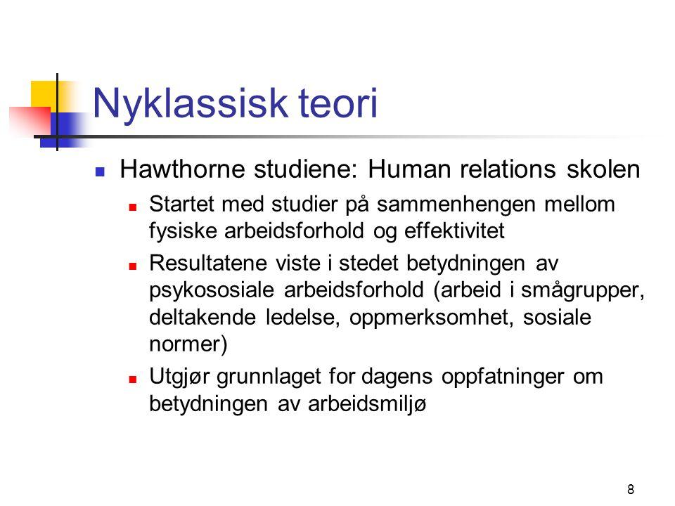 Nyklassisk teori Hawthorne studiene: Human relations skolen
