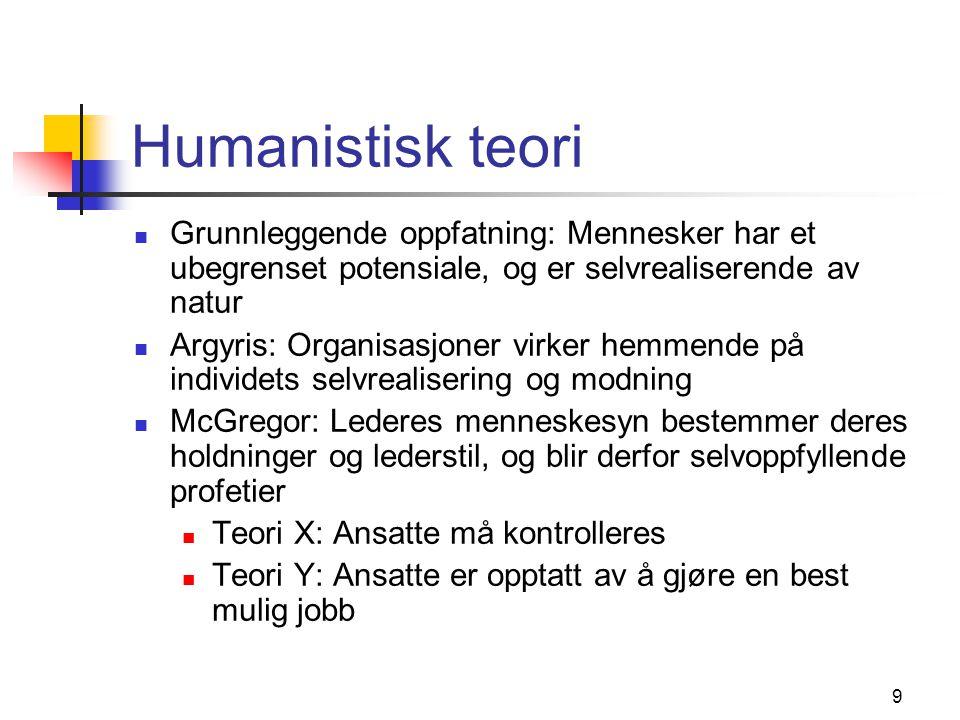 Humanistisk teori Grunnleggende oppfatning: Mennesker har et ubegrenset potensiale, og er selvrealiserende av natur.