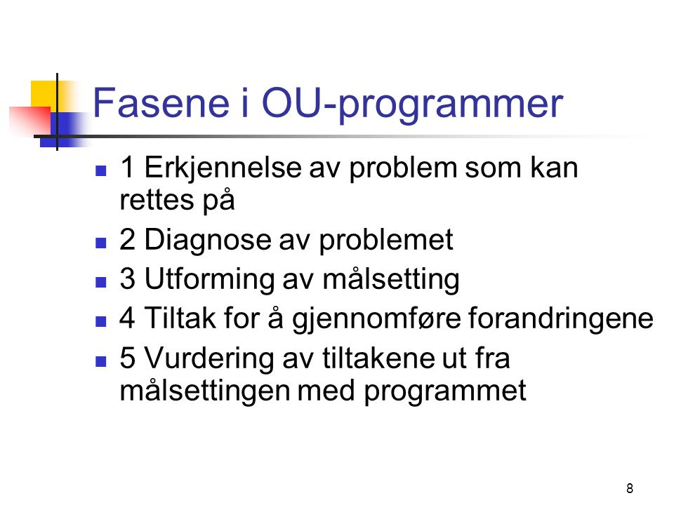 Fasene i OU-programmer