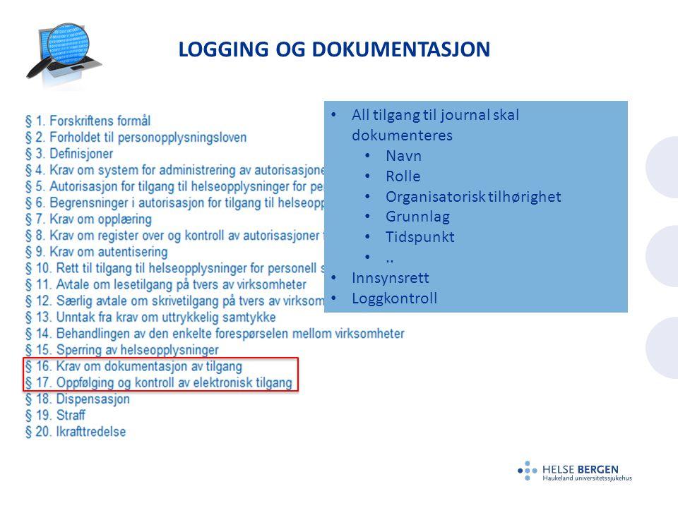 Logging og dokumentasjon
