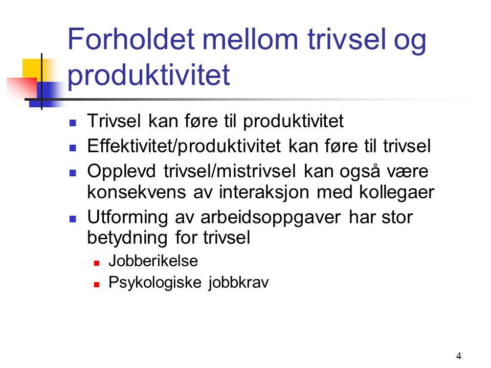 Forholdet mellom trivsel og produktivitet