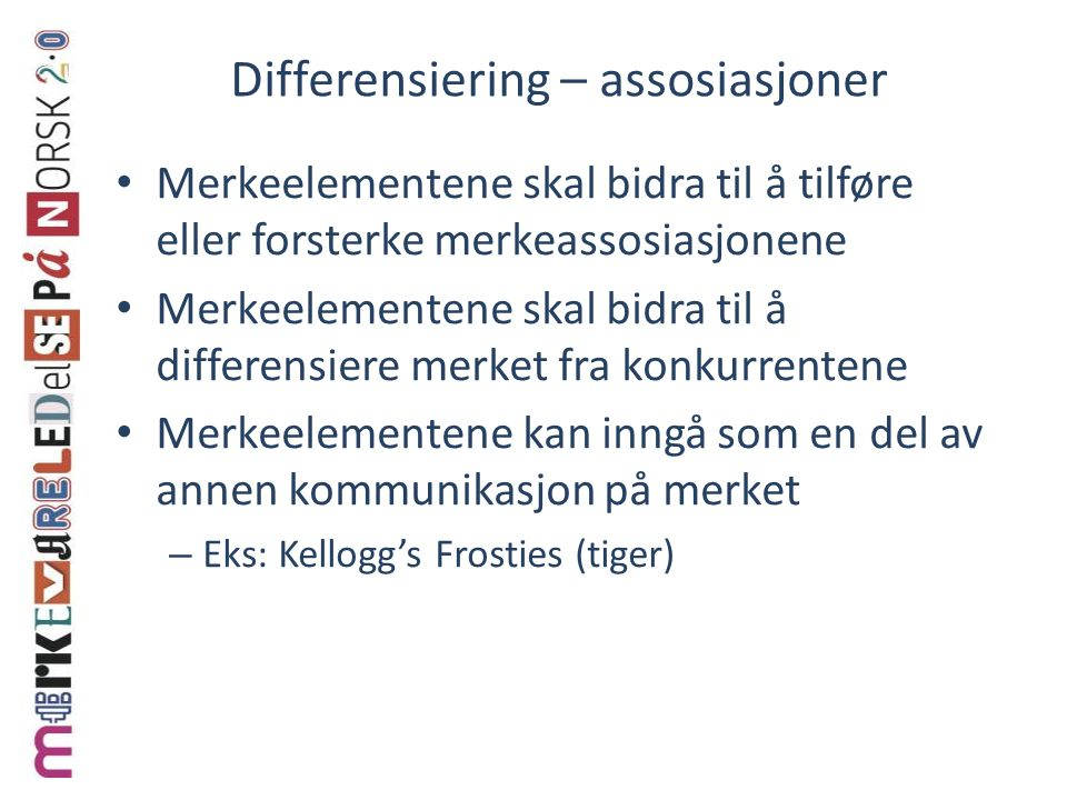 Differensiering – assosiasjoner