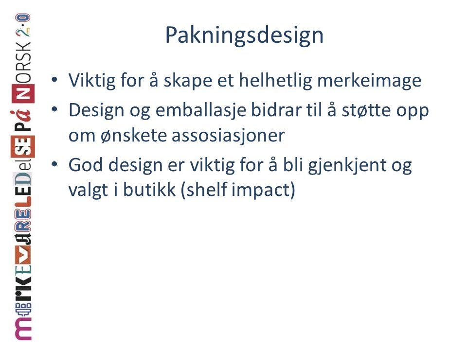 Pakningsdesign Viktig for å skape et helhetlig merkeimage