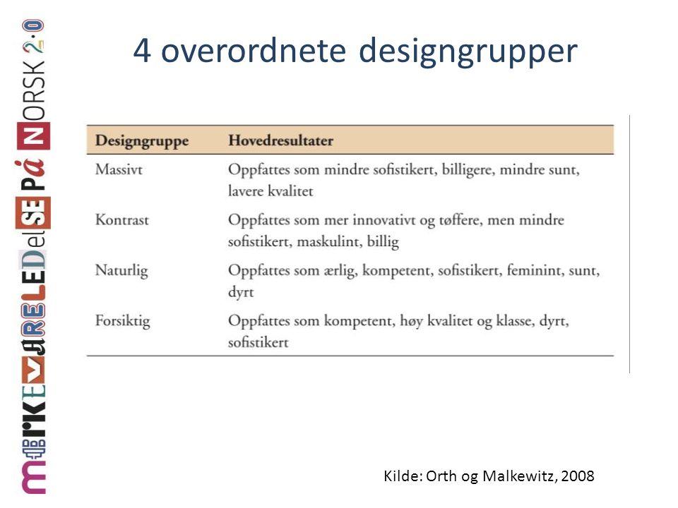 4 overordnete designgrupper
