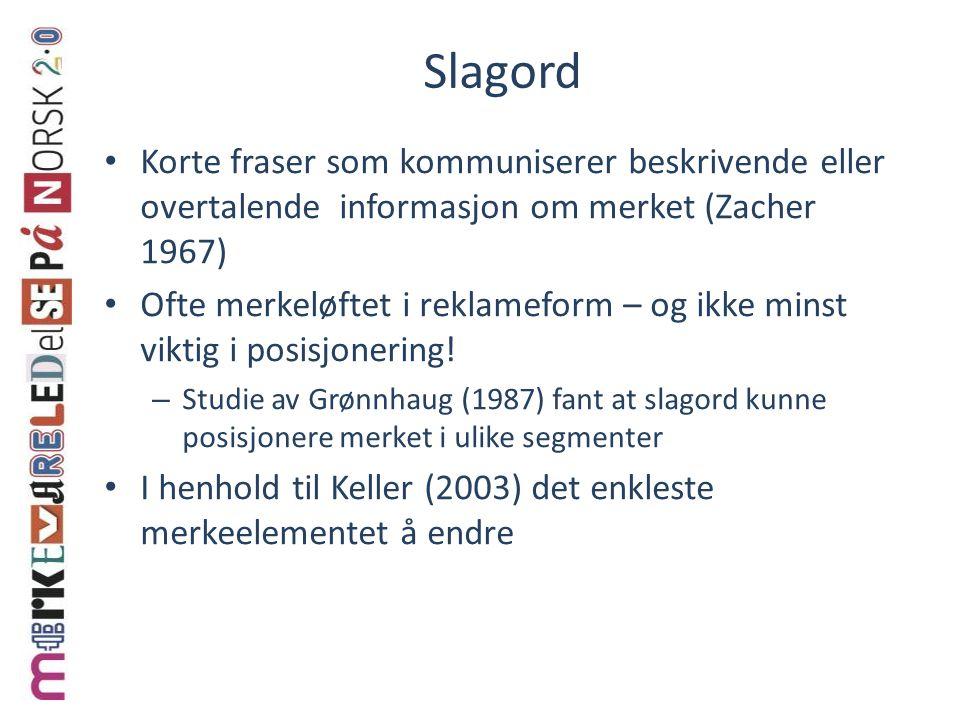 Slagord Korte fraser som kommuniserer beskrivende eller overtalende informasjon om merket (Zacher 1967)