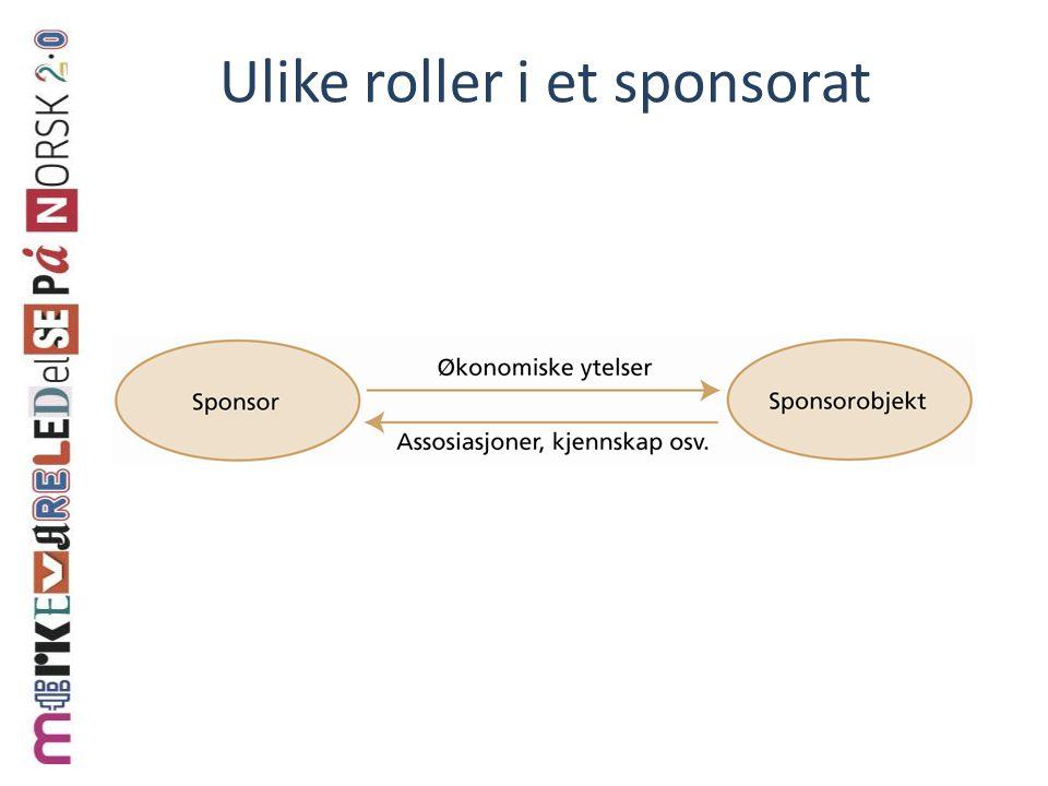 Ulike roller i et sponsorat