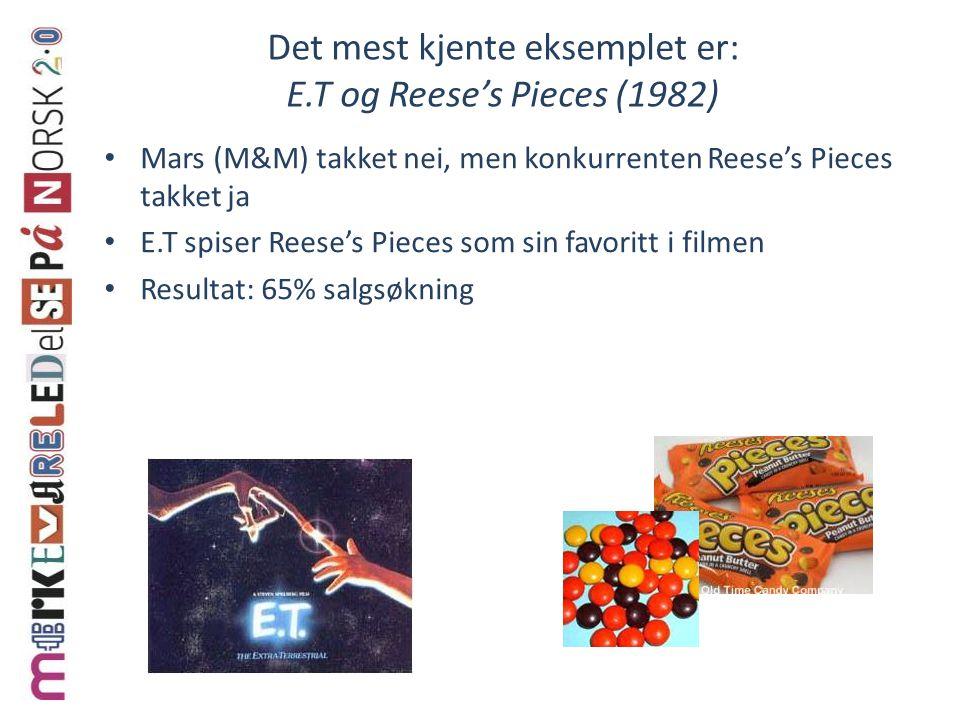 Det mest kjente eksemplet er: E.T og Reese's Pieces (1982)