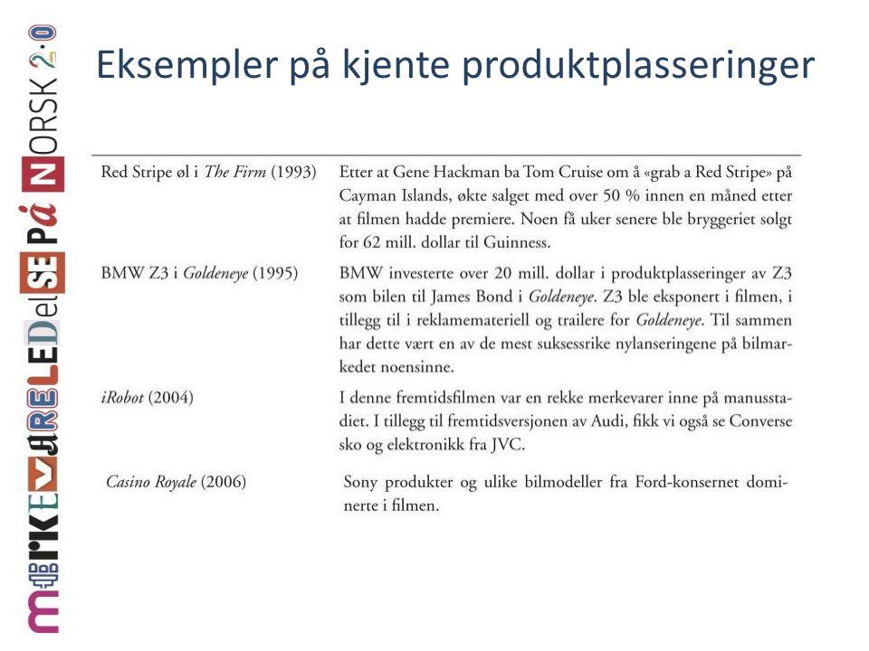 Eksempler på kjente produktplasseringer