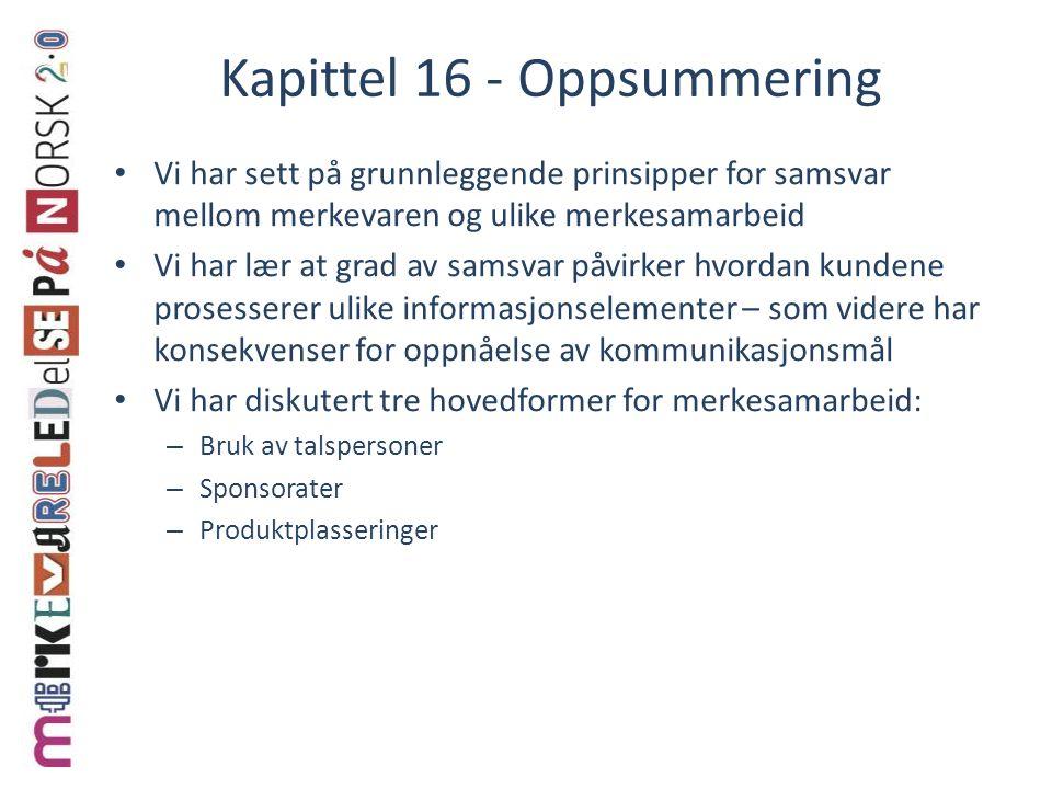 Kapittel 16 - Oppsummering