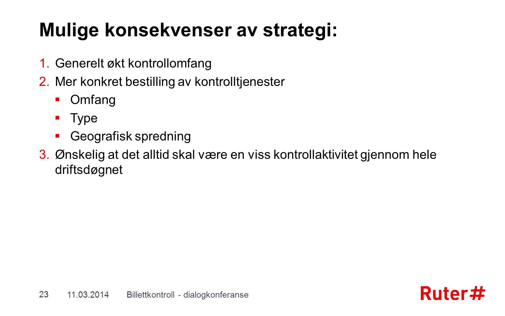 Mulige konsekvenser av strategi: