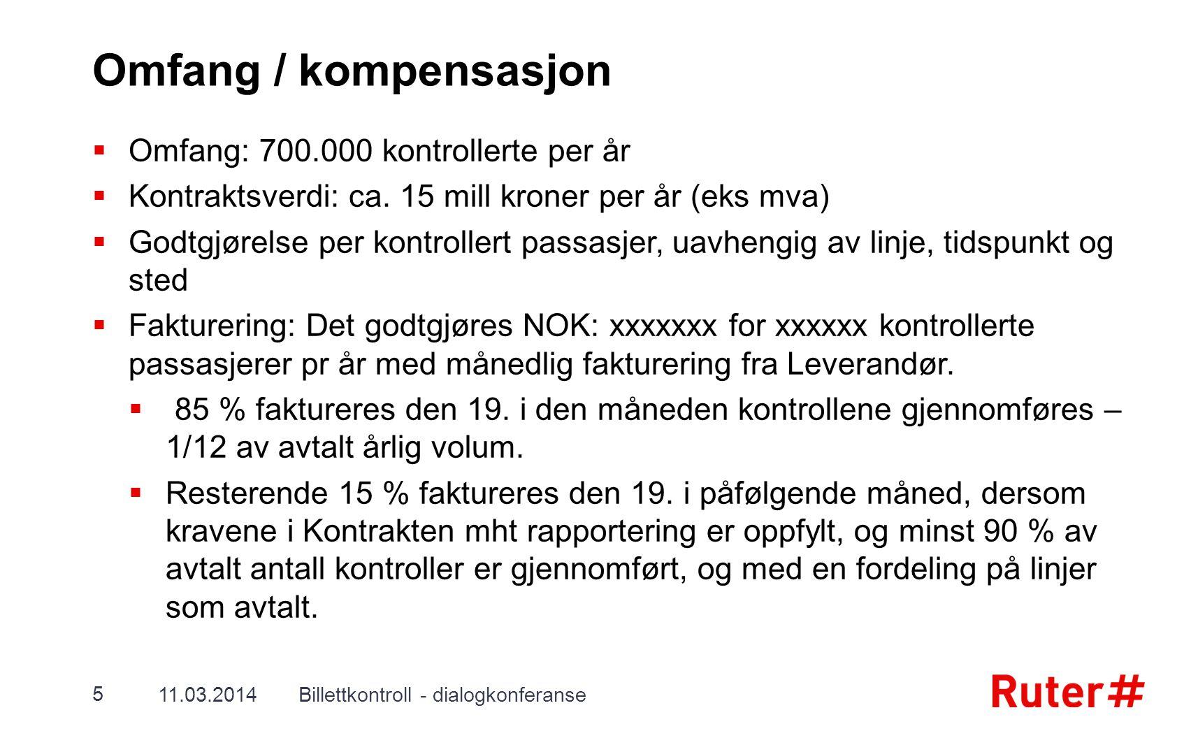 Omfang / kompensasjon Omfang: 700.000 kontrollerte per år