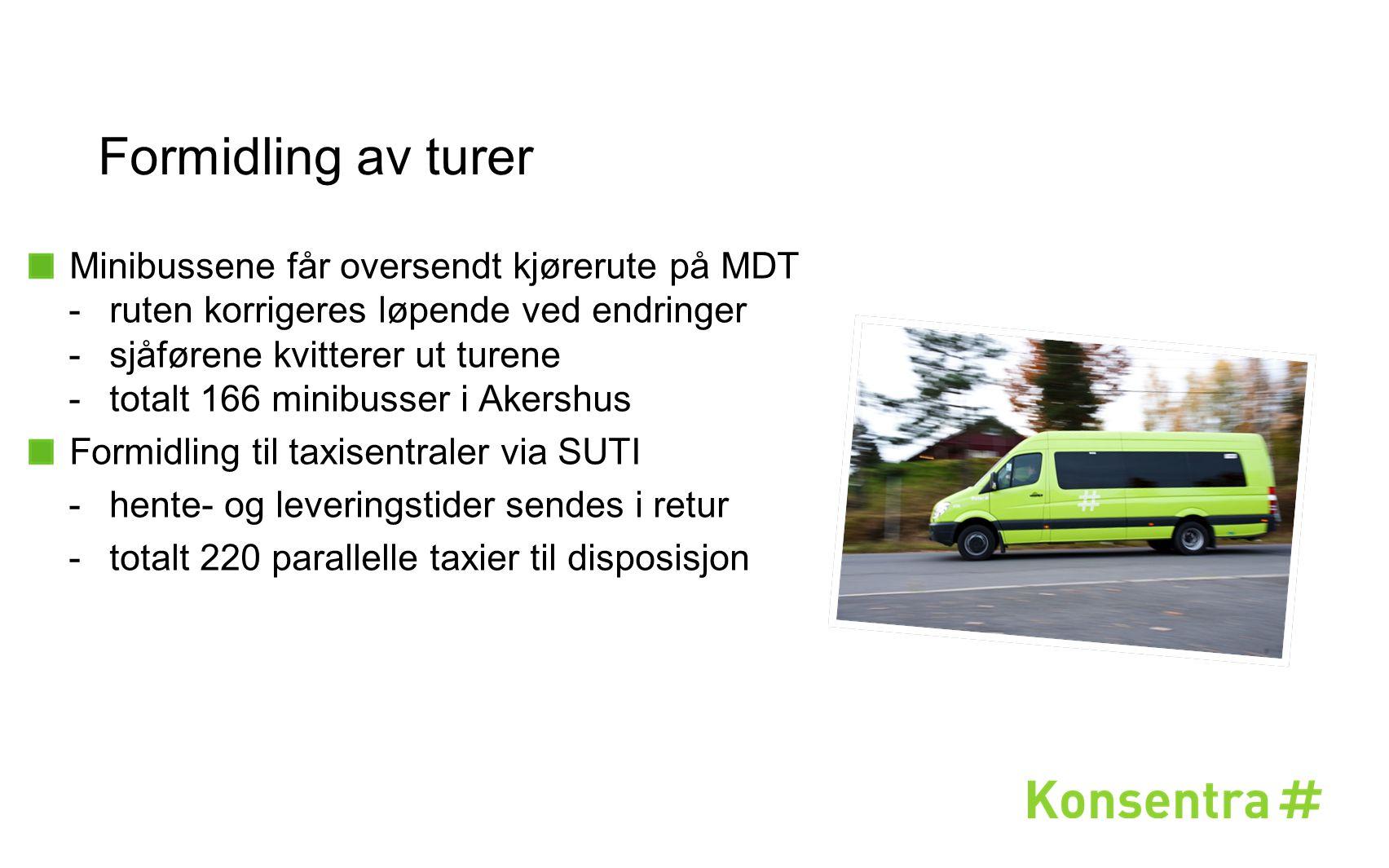 Formidling av turer Minibussene får oversendt kjørerute på MDT