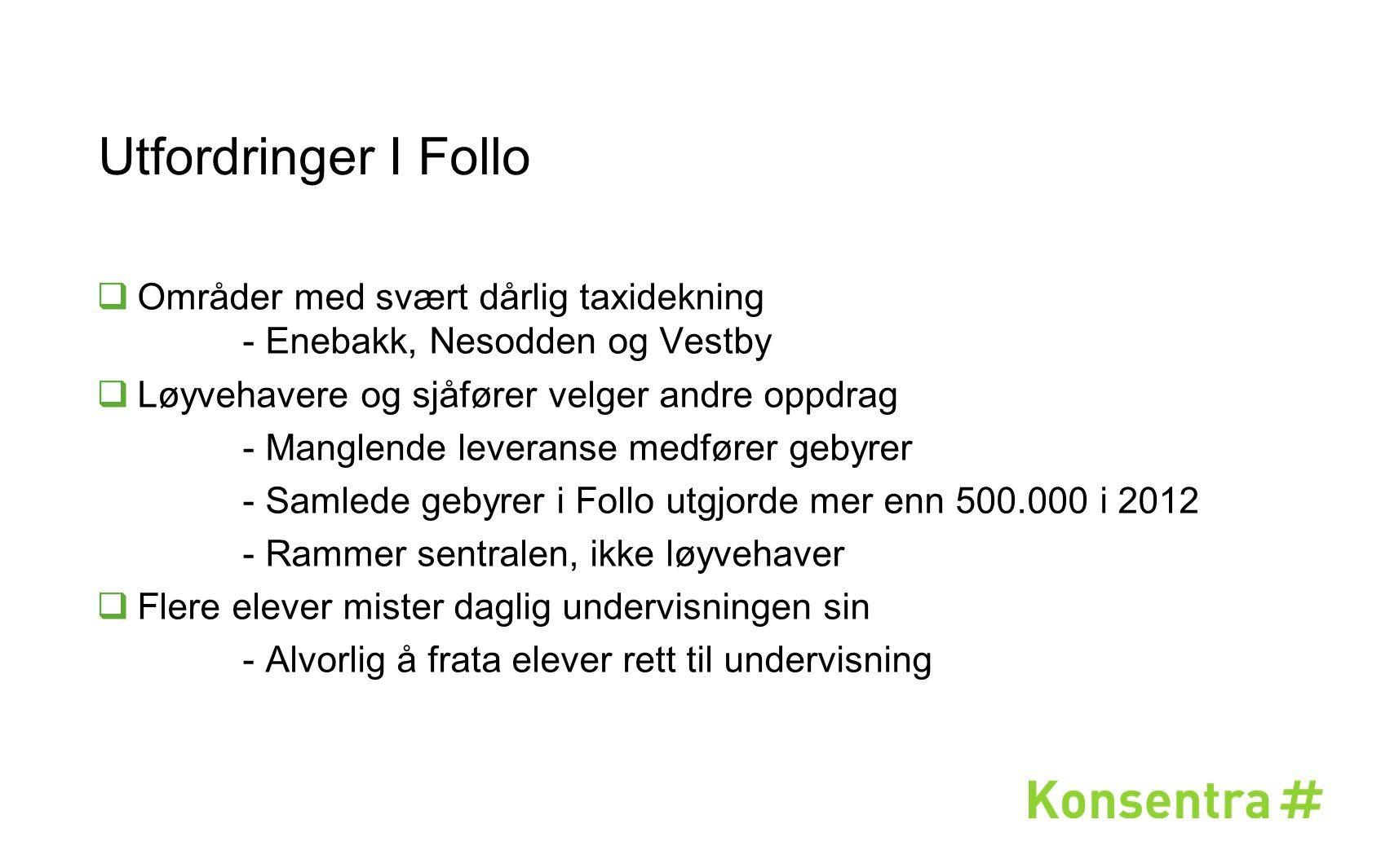 Utfordringer I Follo Områder med svært dårlig taxidekning