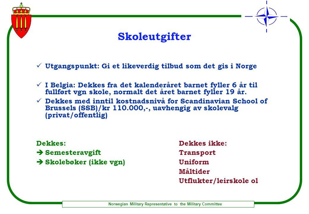 Skoleutgifter Utgangspunkt: Gi et likeverdig tilbud som det gis i Norge.