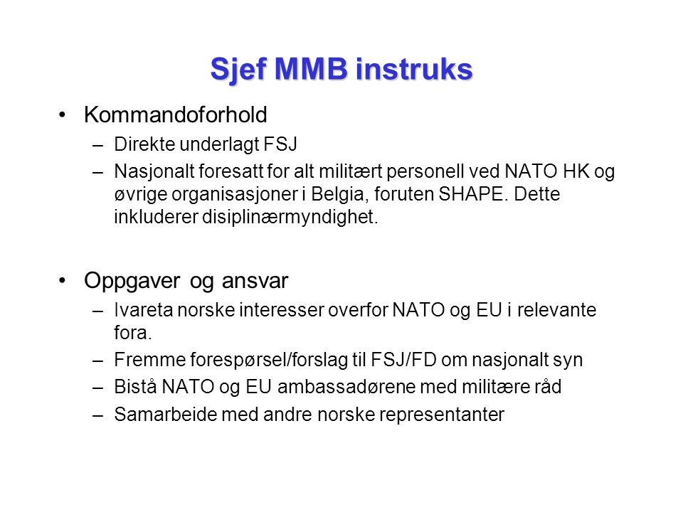Sjef MMB instruks Kommandoforhold Oppgaver og ansvar