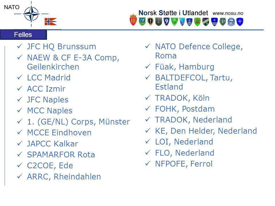JFC HQ Brunssum NAEW & CF E-3A Comp, Geilenkirchen. LCC Madrid. ACC Izmir. JFC Naples. MCC Naples.