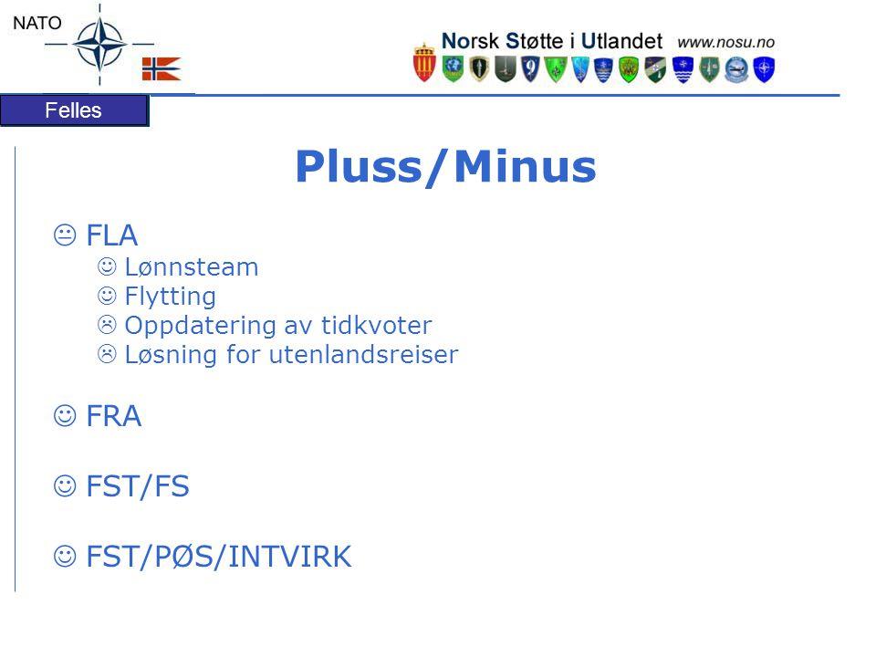 Pluss/Minus FLA FRA FST/FS FST/PØS/INTVIRK Lønnsteam Flytting