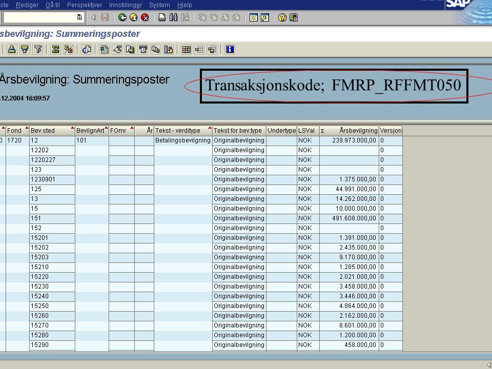 Transaksjonskode; FMRP_RFFMT050