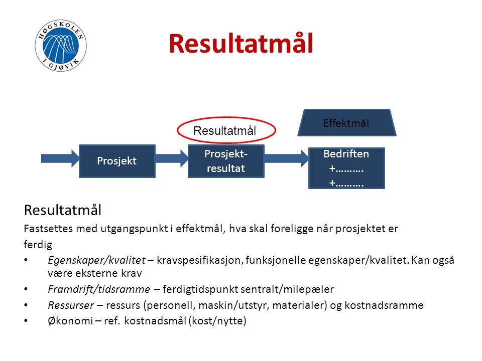 Resultatmål Resultatmål Effektmål Resultatmål Prosjekt- Bedriften