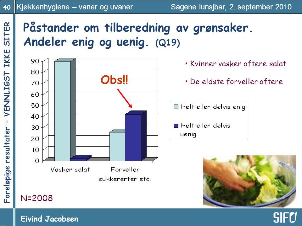 Påstander om tilberedning av grønsaker. Andeler enig og uenig. (Q19)
