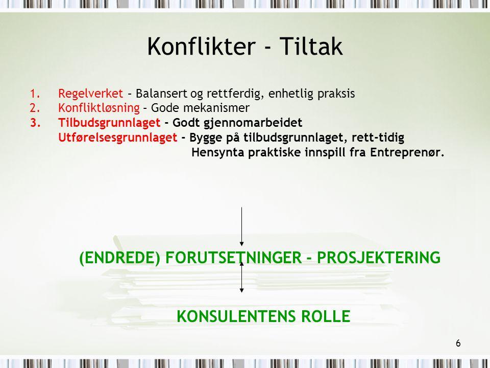 Konflikter - Tiltak (ENDREDE) FORUTSETNINGER - PROSJEKTERING