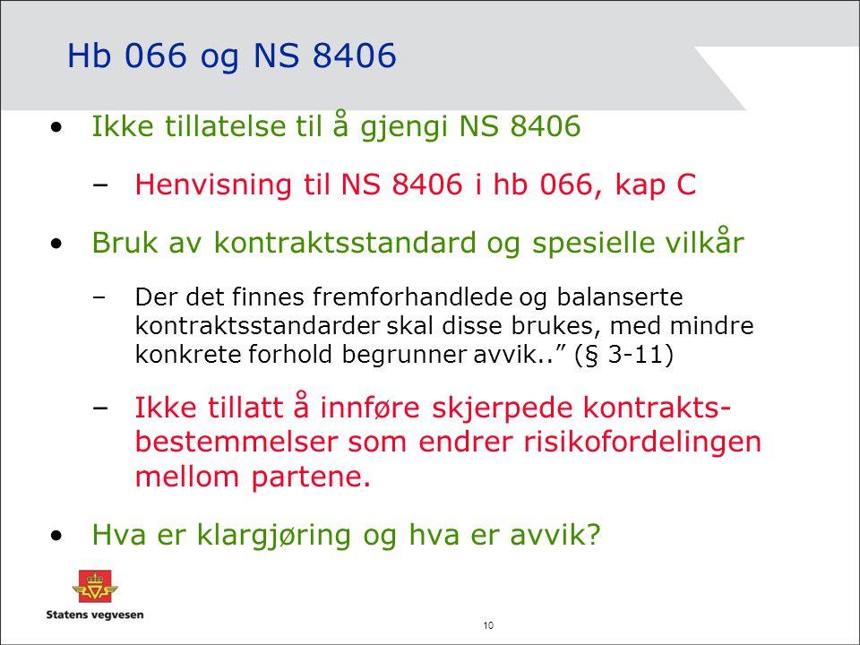 Hb 066 og NS 8406 Ikke tillatelse til å gjengi NS 8406