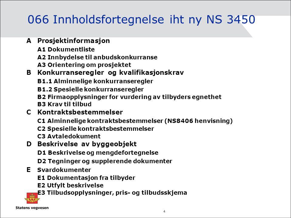 066 Innholdsfortegnelse iht ny NS 3450