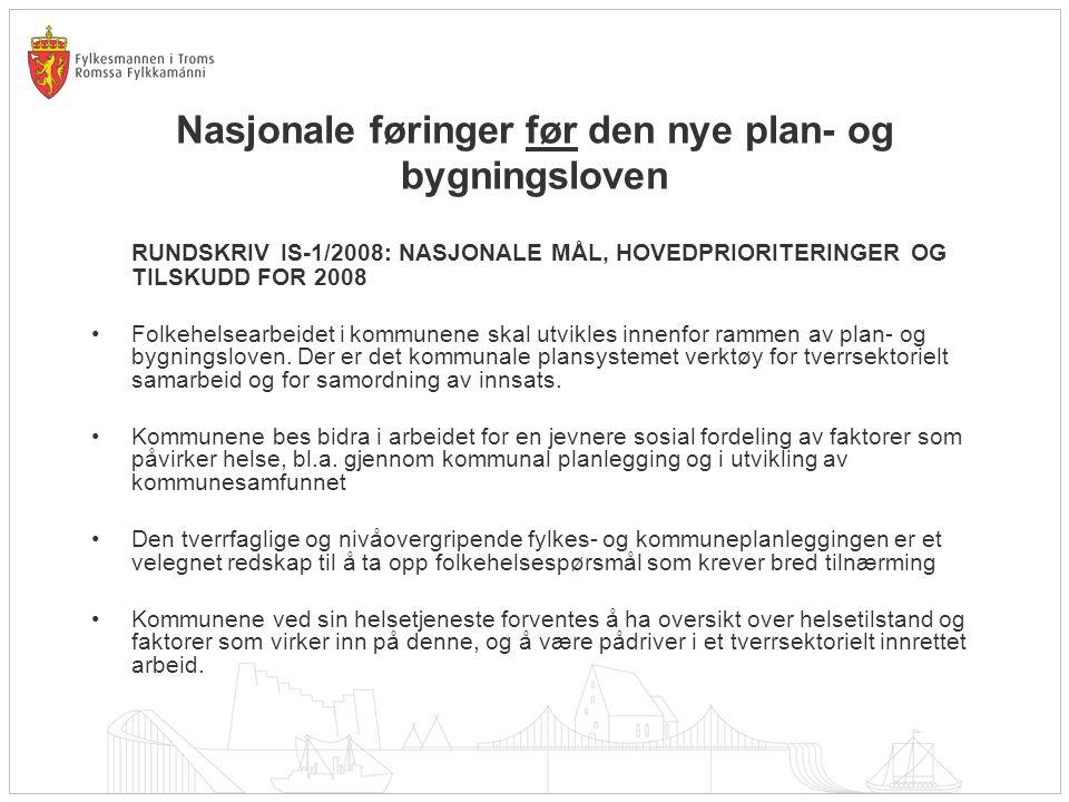Nasjonale føringer før den nye plan- og bygningsloven