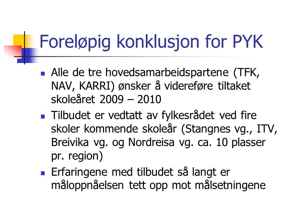 Foreløpig konklusjon for PYK