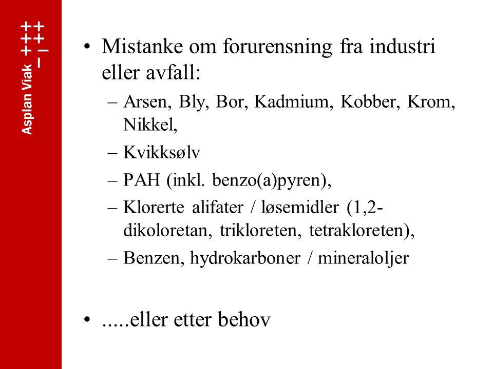 Mistanke om forurensning fra industri eller avfall: