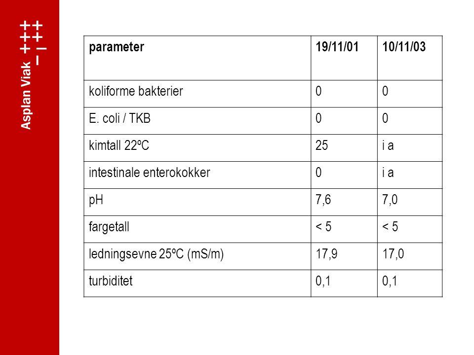 parameter 19/11/01. 10/11/03. koliforme bakterier. E. coli / TKB. kimtall 22ºC. 25. i a. intestinale enterokokker.
