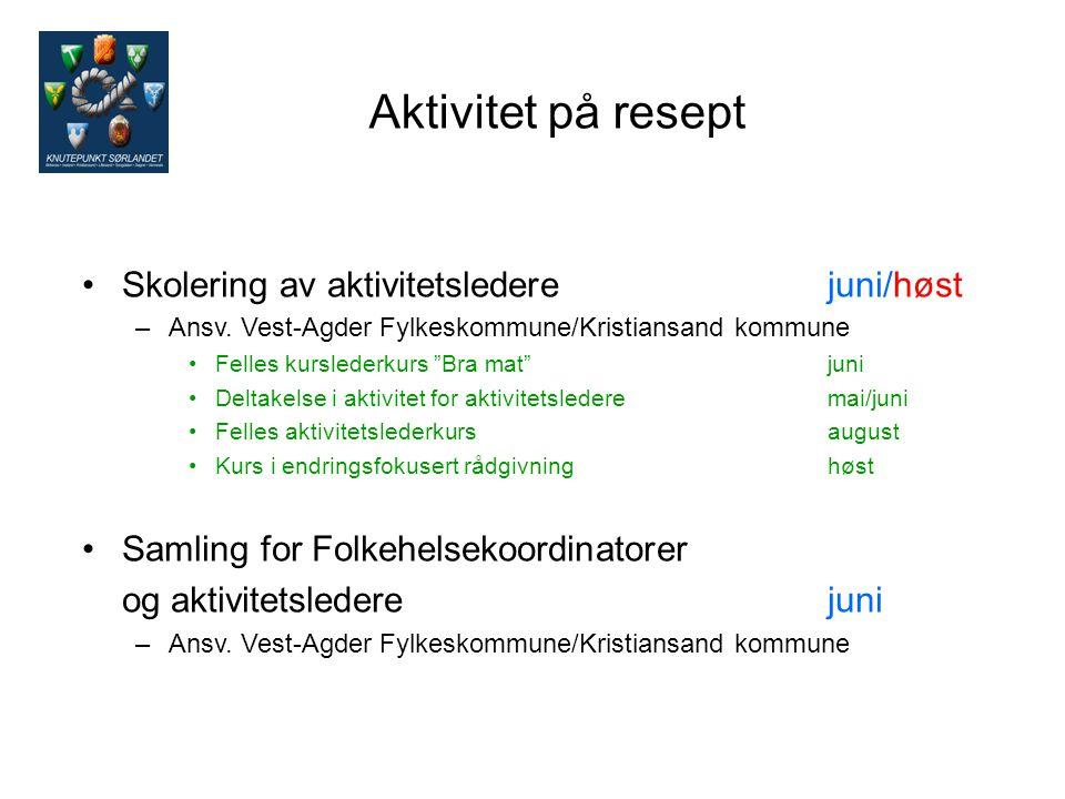 Aktivitet på resept Skolering av aktivitetsledere juni/høst