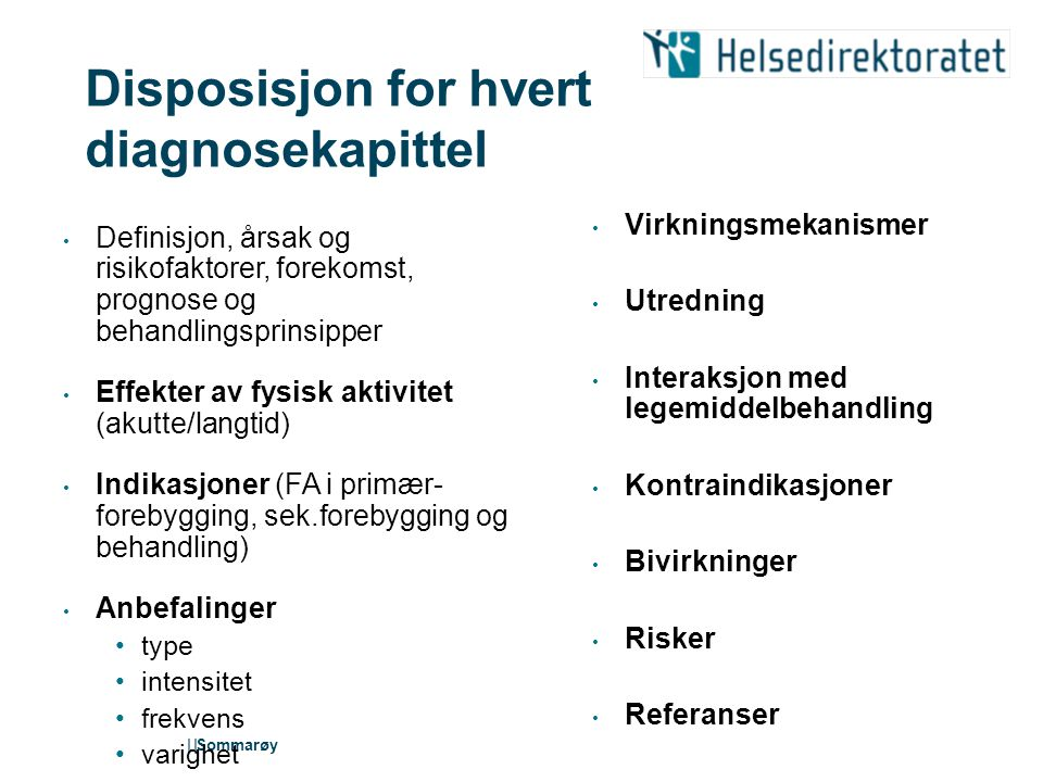 Disposisjon for hvert diagnosekapittel