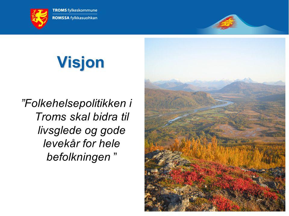 Visjon Folkehelsepolitikken i Troms skal bidra til livsglede og gode levekår for hele befolkningen