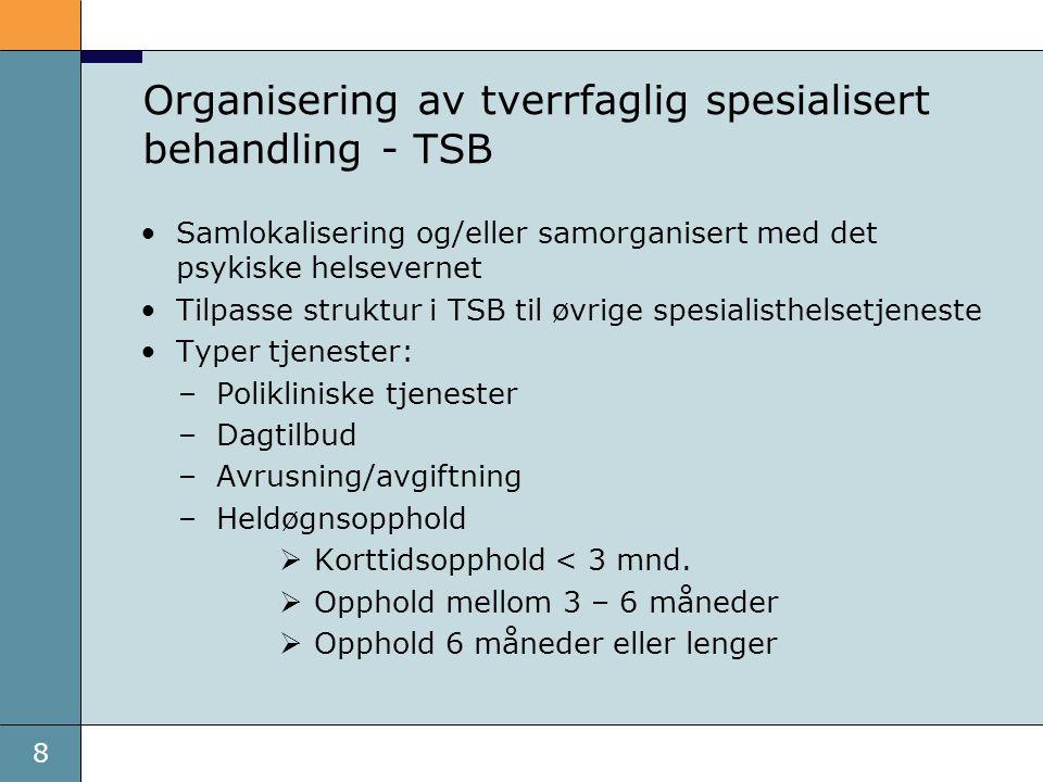 Organisering av tverrfaglig spesialisert behandling - TSB