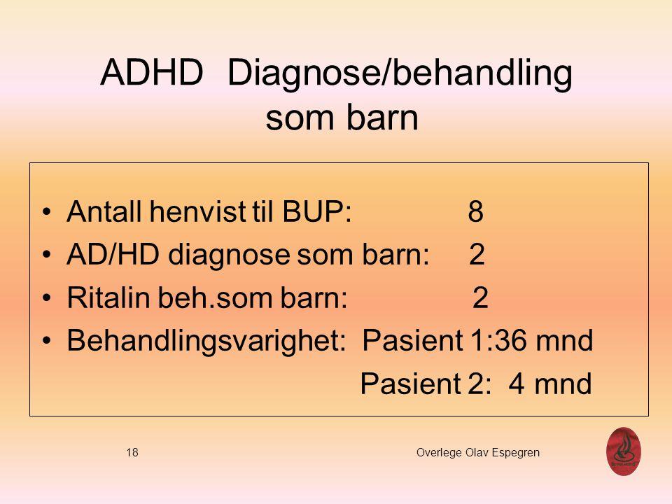 ADHD Diagnose/behandling som barn