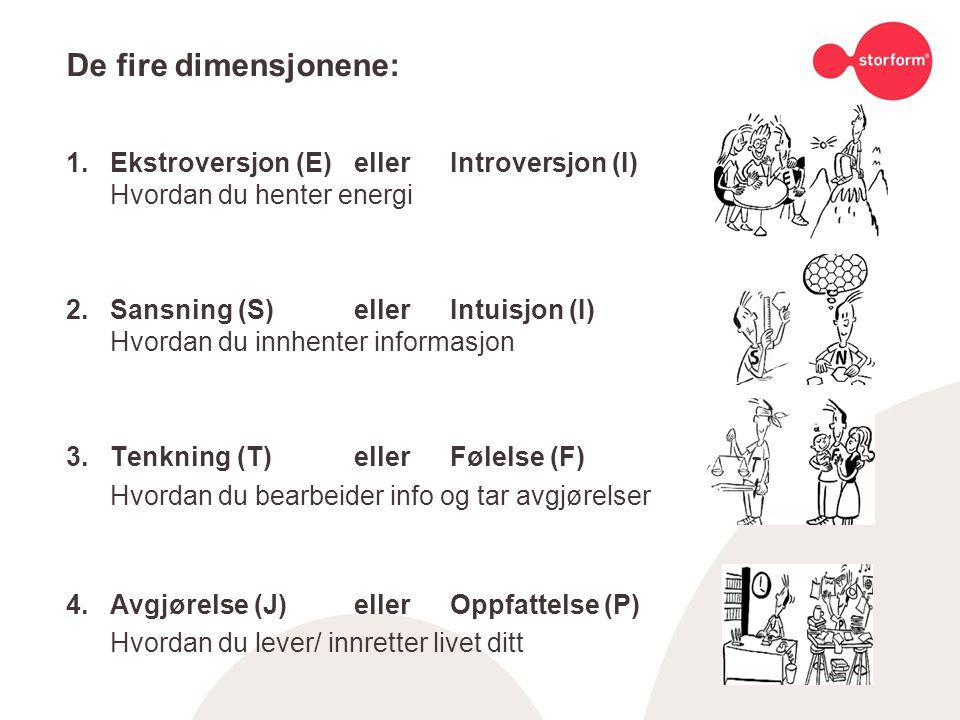 De fire dimensjonene: 1. Ekstroversjon (E) eller Introversjon (I) Hvordan du henter energi.