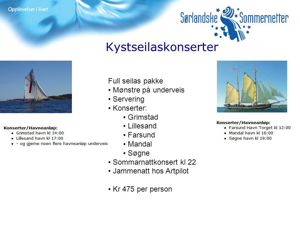 Kystseilaskonserter Full seilas pakke Mønstre på underveis Servering