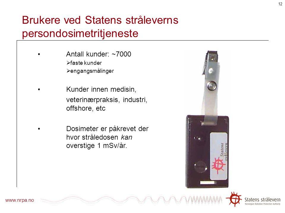 Brukere ved Statens stråleverns persondosimetritjeneste