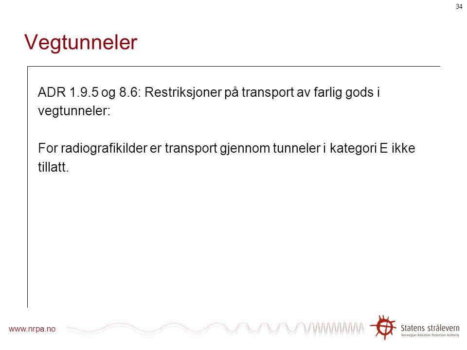 Vegtunneler ADR 1.9.5 og 8.6: Restriksjoner på transport av farlig gods i. vegtunneler: